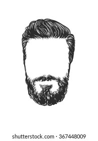 Vector fashion illustration, hand graphics - Men's Beard and Hair