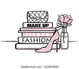 Vector fashion illustration. High heels shoes, bag, fashion magazines books. Hand drawn beautiful concept for girls.