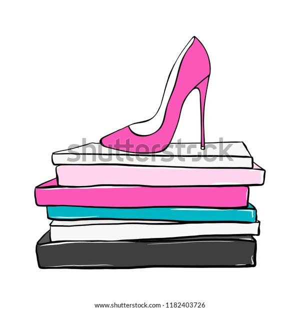 0012c5e942c Vector fashion illustration. Pink High heels shoes on fashion magazines  books. Hand drawn beautiful