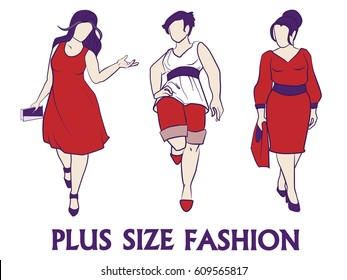 Vector fashion illustration - plus size model women set. Fashion logo with overweight young girl in elegant dress. Beautiful curvy woman body icon design XL plus size model, fashion lifestyle catwalk