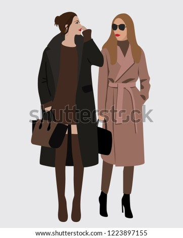cb906b01e Vector Fashion Illustration Stylish Modern Pretty Stock Vector ...