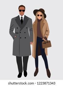 Vector fashion illustration of stylish pretty girl and handsome stylish man. Stylish couple. Relationships. Fall winter illustration. Romantic couple