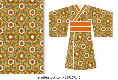 Vector fashion illustration. Stylized Japanese kimono ethnic clothes and colorful seamless doodle pattern. Hand drawn repeating texture, floral geometric ornament. Isolated design elements