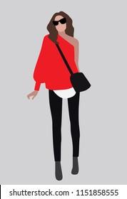 Vector fashion illustration of trendy woman
