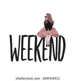 Vector fashion illustration. Weekend text poster with glamour woman sketch. Model in fluffy dress, black sweater and heels print. Trendy character decoration.