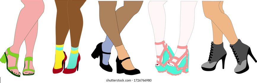 Vector fashion illustrations set of female legs in different shoes. Collection of silhouettes of various beautiful female legs isolated on white background. Slim women's legs in high-heeled shoes.