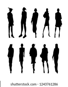 Vector Fashion Model Silhouettes. Sketch Fashion Girls on a white background.