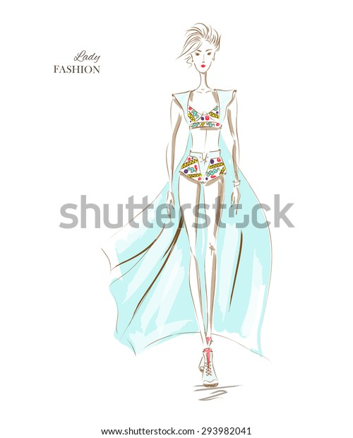 Vector Fashion Model Sketch Silhouette Vector Stock Vector Royalty Free 293982041