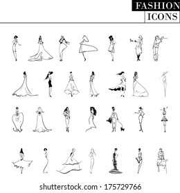 Vector fashion models: big black and white set