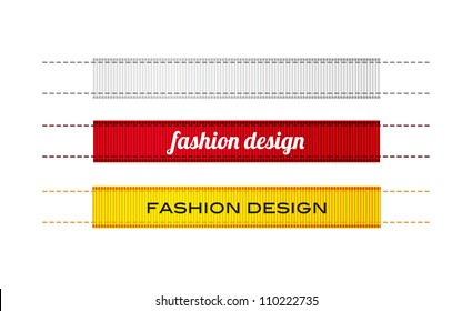 Vector fashion ribbon textured clothing labels with stitches, white red and yellow