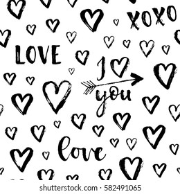 Vector fashion seamless pattern with hearts on Happy Valentines Day. Doodle style