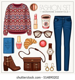 Vector fashion set of woman's clothes and accessories. Casual outfit with sweater and jeans