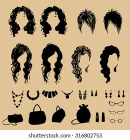 vector fashion silhouettes. Fashion hairstyles
