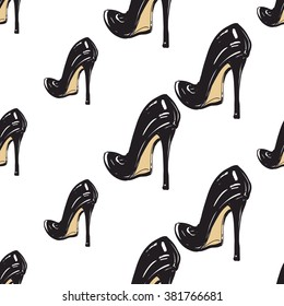 Vector fashion sketch. Hand drawn graphic black heel. Contrasty glamour fashion seamless pattern in vogue style. Isolated elements on white background