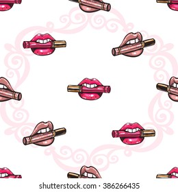 Vector fashion sketch. Hand drawn graphic glossy and shine biting lipstick, lipstick mouth, rouge lips, paint lips, red lips. Glamour fashion seamless pattern in vogue style.