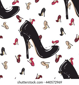 Vector fashion sketch. Hand drawn graphic shoe, red heel, wine heel, nude heel, black heel. Contrasty glamour fashion seamless pattern in vogue style. Isolated elements on white background