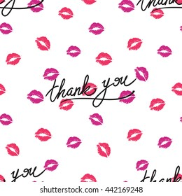 Vector fashion sketch. Hand drawn graphic glossy and shine thank you lettering and lips imprint. Isolated elements on white background
