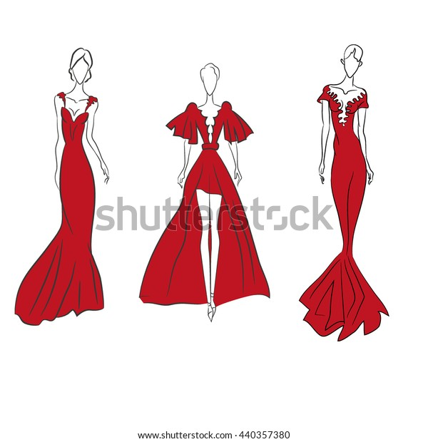 Vector Fashion Sketch Set Beautiful Models Stock Vector Royalty Free 440357380