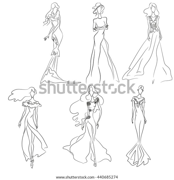 Vector fashion sketch. Set of beautiful models standing in long gorgeous black dress with high cut, long sleeves. Skinny body silhouette isolated on white, high heels. Haute couture fashion show