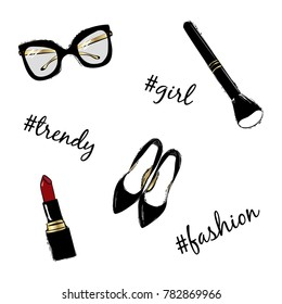 c6791ece0f2 Vector fashion sketch set. Hand drawn graphic black shoes, makeup brush, red  lipstick