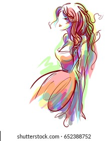VECTOR  Fashion stylish original hand-drawn graphic with beautiful young girl model for design . Graphic drawing sketch with woman.