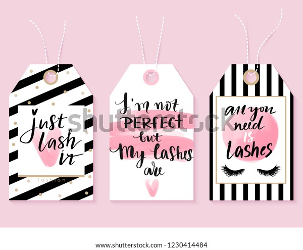Vector Fashion Tags Lashes Quotes Calligraphy Stock Vector