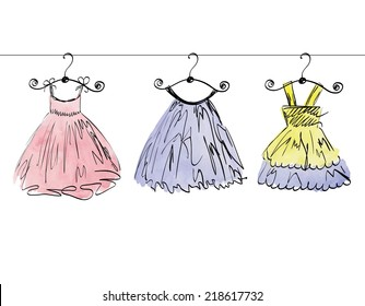 Girls Dress Sketch Images Stock Photos Vectors Shutterstock