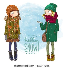 Vector fashionable hipster girls in a coat, knitted hats, scarves and mittens in winter