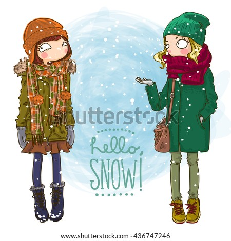 6aae839c800d Vector Fashionable Hipster Girls Coat Knitted Stock Vector (Royalty ...
