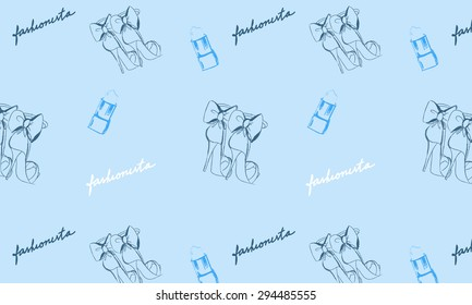 Vector fashionista glamour pattern on light blue background