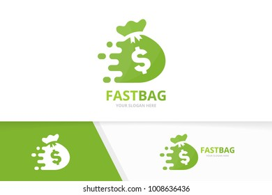 Vector fast bag logo combination. Speed sack symbol or icon. Unique money and digital logotype design template.