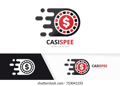 Vector fast casino logo combination. Speed chip symbol or icon. Unique roulette game and digital logotype design template.