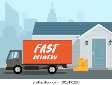 Vector fast delivery concept in flat style - illustration for banner for website