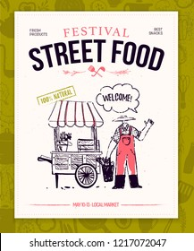 Vector fast food festival poster, placard, banner, advertising, flayer with food truck and farmer illustration template. Hand drawn sketch style. Snacks and natural fresh products background.