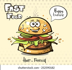 vector. fast food. hamburger.