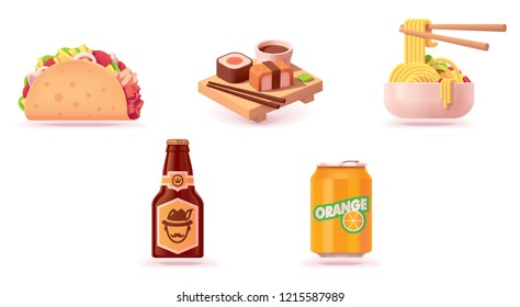 Vector fast food icon set. Includes illustrations of taco, sushi, noodles, beer bottle and orange soda can