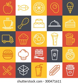 Vector fast food icons and sign in trendy linear style - catering and cafe emblems