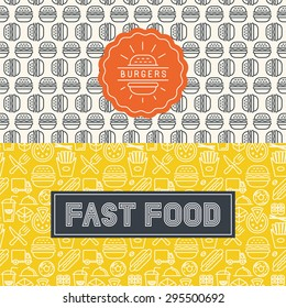 Vector fast food package design elements in trendy mono line style - logos and seamless patterns