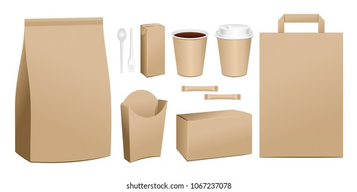 Vector fast food package. Set of realistic carton container potatoes french fries in paper box blank cardboard cup for drinks with straw paper take away handle lunch bag.
