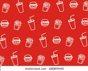 Vector fast food pattern.
