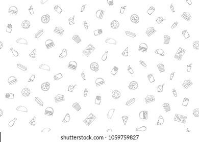 Vector fast food pattern. Fast food seamless background