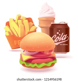 Vector fast food restaurant burger set icon. Includes illustrations of burger, French fries, ice cream cone and soda can