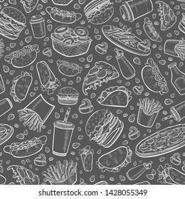 Vector fast food seamless pattern in hand drawn flat line doodle style. Black background of chalk board with burger, french fries, hamburger, pizza, hot dog, taco, coffee.