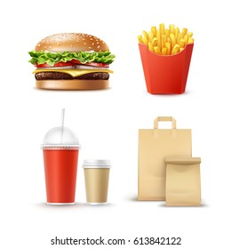 Vector Fast Food Set of Realistic Hamburger Classic Burger Potatoes French Fries in Red Package Box Blank Cardboard Cups for Coffee Soft Drinks with Straw and Craft Paper Take Away Handle Lunch Bags