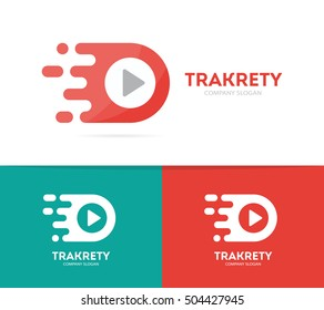 Vector fast play button logo combination. Speed record symbol or icon. Unique audio and video logotype design template.