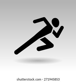 vector fast running man icon black silhouette on a light background.