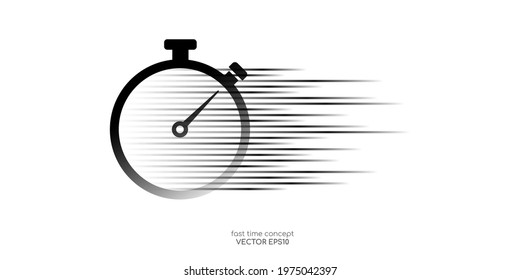 Vector fast time by stopwatch with speed motion lines pattern isolated on white background for logo, icon, sign in concept fast delivery, deadline