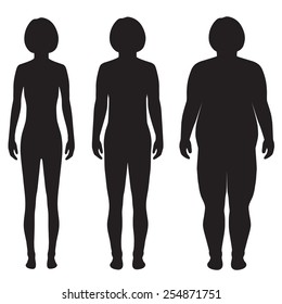 vector fat body, weight loss, overweight silhouette illustration, before, after woman