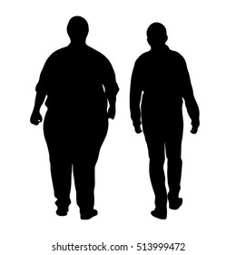 vector fat  boy and a handsome boy walking - Silhouette