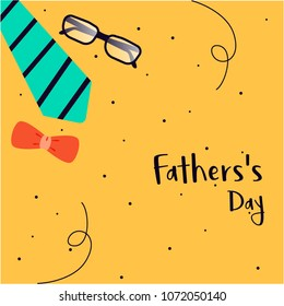 Vector father's day greetings card with tie and spectacles - happy father's day template design and illustration.